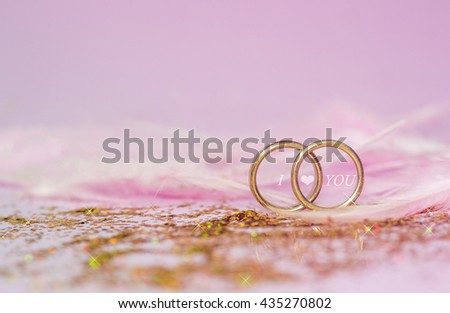wedding rings and messages I love you, Designed for Wedding concept  - stock photo
