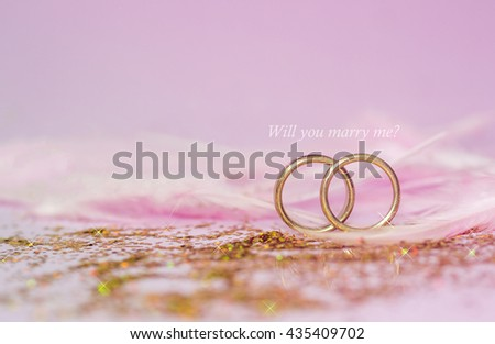 wedding rings and messages Will you marry me? , Designed for Wedding concept - stock photo