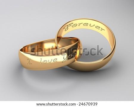 wedding rings are united between itself