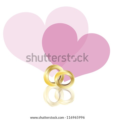 Wedding Rings Gold Band with Couple Pink Hearts Isolated on White Background Raster Vector Illustration - stock photo