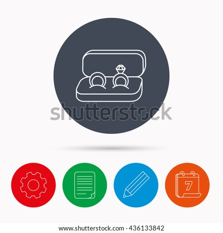 Wedding rings icon. Jewelry with diamond sign. Marriage symbol. Calendar, cogwheel, document file and pencil icons. - stock photo