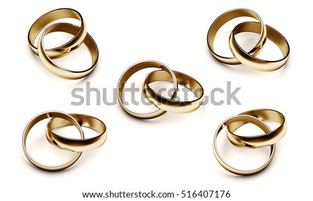 wedding rings isolated on a white background. 3D illustration.