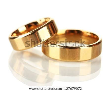 Wedding rings isolated on white - stock photo