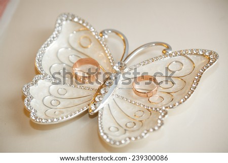 Wedding rings lie on a plateau in the form of a butterfly. Beautiful wedding accessories for the wedding. - stock photo