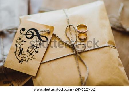 wedding rings on the premise - stock photo