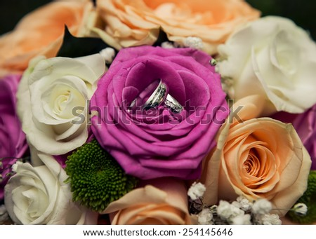 Wedding rings on the red roses - stock photo