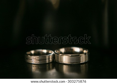 Wedding rings on the wedding day, closeup