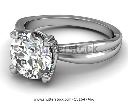 wedding rings on white background.