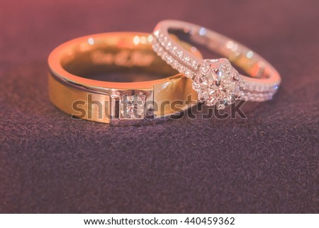 Wedding Rings,pink and  vintage tone,selective focus - stock photo