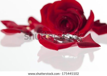 Wedding rings with a red rose and laying on a glass surface.GN
