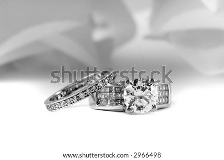 Wedding Rings With Brilliant and Princess Cut Diamonds - stock photo