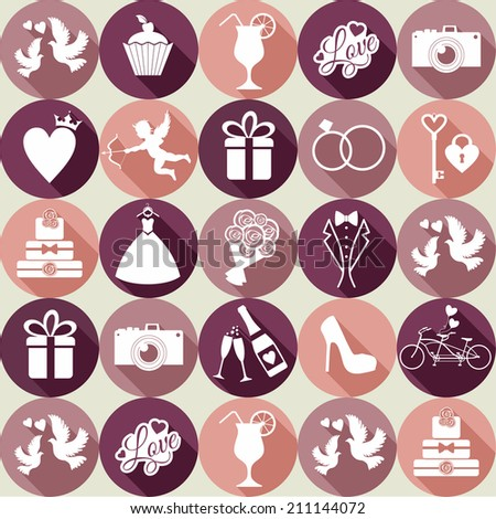 Wedding seamless pattern witch icons. - stock photo