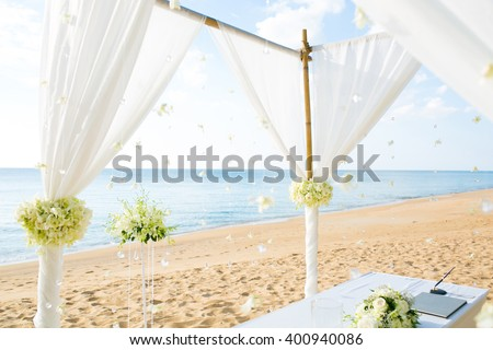 Wedding set up on beach - stock photo