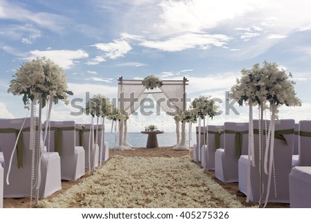 Wedding set up on the beach. - stock photo