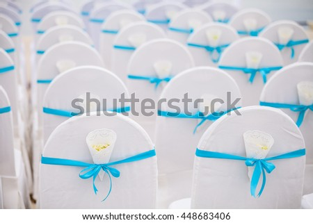 Wedding set up on the beach at Thailand. - stock photo