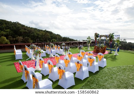 Wedding setting on roof top