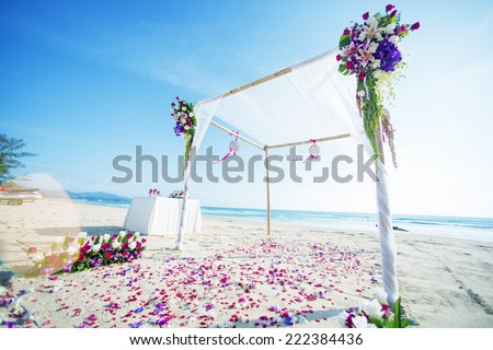 wedding setup on the beach - stock photo