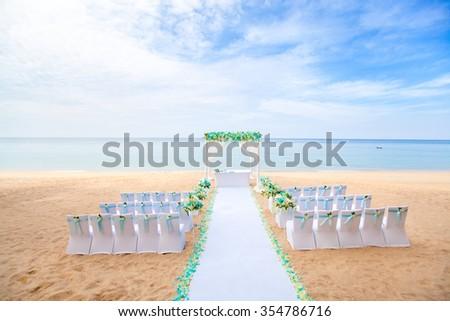 Wedding setup on the beach - stock photo
