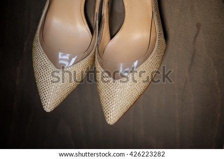 Wedding shoes bride beige with rhinestones
