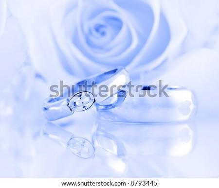 Wedding still life in blue tone - stock photo