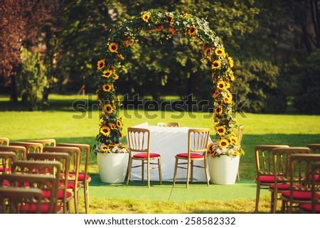 wedding sunflower ceremony  - stock photo