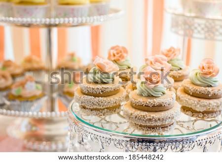 wedding sweet dessert  Fondant Cake  on the  table - stock photo