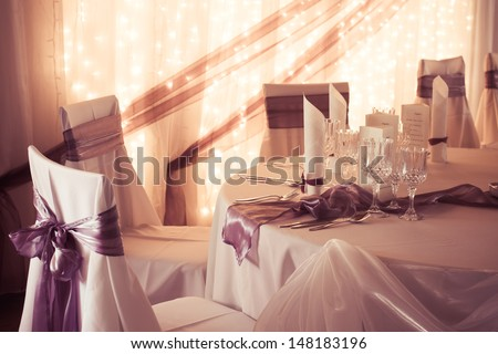 wedding table - colorized photo - stock photo