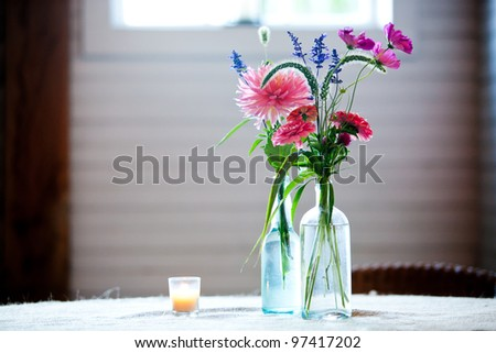 wedding table decorations - stock photo