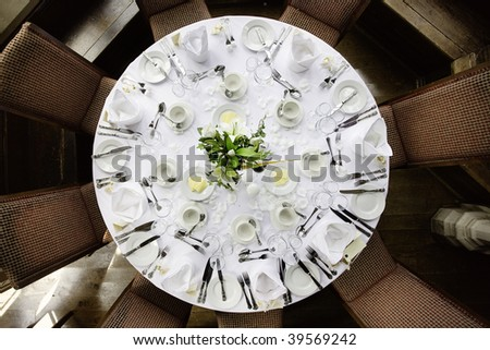 wedding table layout for breakfast dinner - stock photo