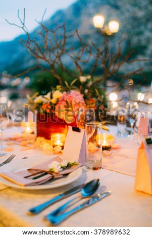 Wedding table outdoors - stock photo