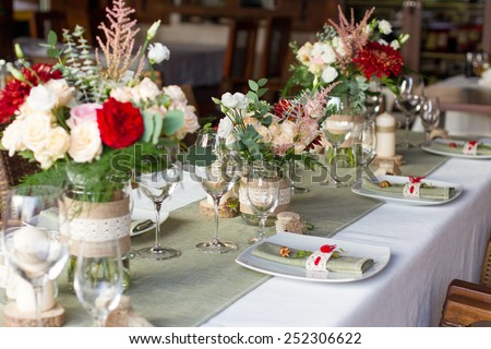 wedding table served in a rustic style