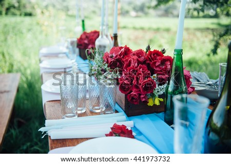 Wedding table setting in rustic style. in a residential area
