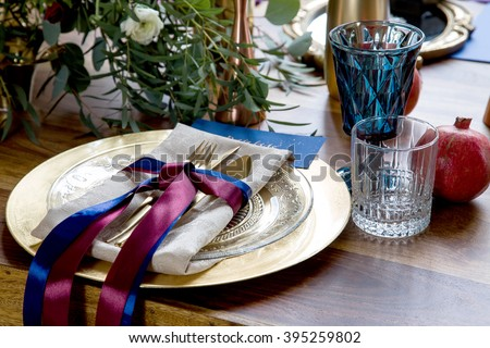 Wedding table setting in rustic style. Vintage stylized photo