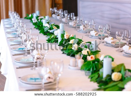 Wedding table settings. & Wedding Table Settings Stock Photo (Royalty Free) 588202925 ...