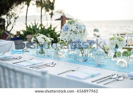 Wedding table setup sunset time & Wedding Table Setup Sunset Time Stock Photo (Royalty Free) 656897962 ...