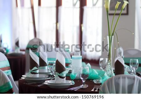 wedding table with luxury decoration - stock photo
