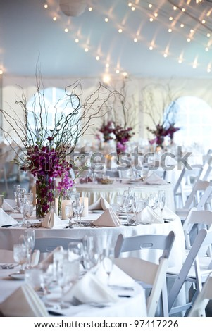 wedding tables set for fine dining - stock photo