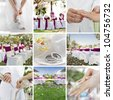 wedding theme collage composed of different images - stock photo