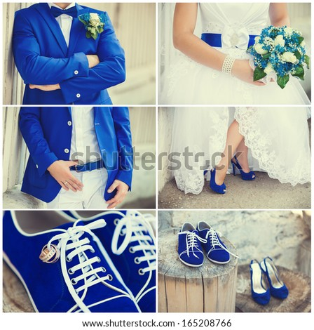 wedding theme collage with beautiful blue theme - stock photo