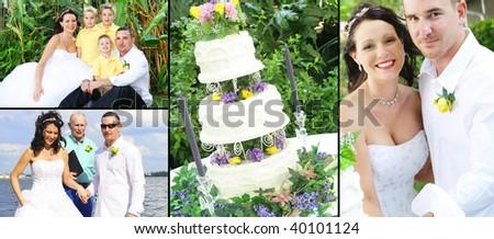 Wedding themed collage - stock photo
