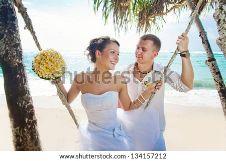 wedding under palm tree