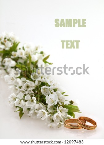 Wedding. Wedding card. Wedding rings and cherry blossoms / Wedding Rings / Wedding Rings. Wedding card with wedding rings.  - stock photo