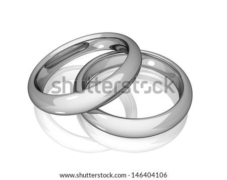 Wedding - White Golden Rings - stock photo