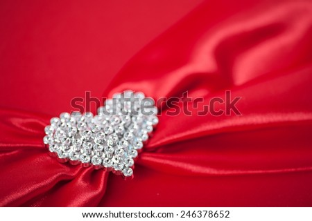 wedding white hearts on a red background. - stock photo