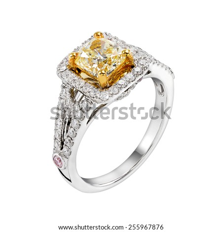 Wedding Yellow Diamond Ring isolated on white background