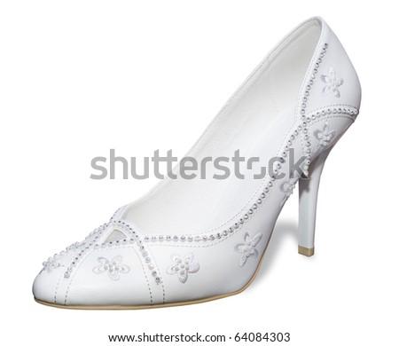 Weddings white shoes.Woman shoe on a white background. - stock photo