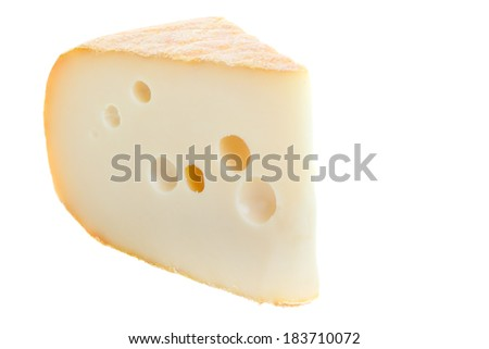 Wedge of cheese isolated on a white background