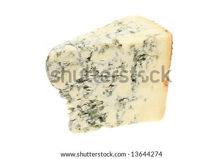 Wedge of stilton cheese isolated on white