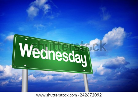 Wednesday Green Road Sign, days of the week concept - stock photo