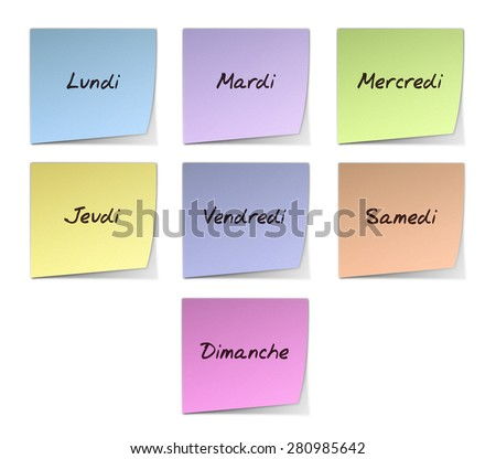 Weekdays in French - stock photo